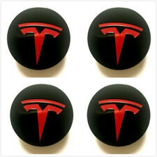 4X Black Red For Tesla Model S Model X Model3 Wheel Center Caps Hub 2012 -2019
