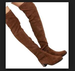 $895 NWB Midland Stuart Weitzman Boots OTK Walnut Suede 8 / 9.5M GORGEOUS!!