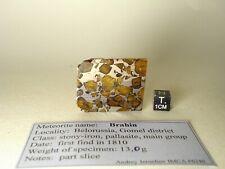 meteorite pallasite BRAHIN, nice olivines, slice 13,0 g