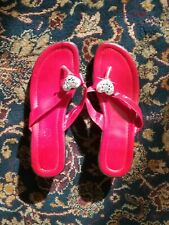 Dress Decorative Red Bow Tie with Heart Sandals Thong Low Heel Women Size 6