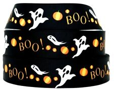 "Grosgrain Ribbon 7/8"" & 1.5"" Halloween Friendly Ghost Boo Cartoons Printed."