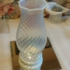 Fenton White Stripped Opalescent Hand Painted Hurricane with Base