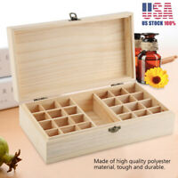 New 24 Slots Aromatherapy Essential Oil Storage Box Wooden Case Container US