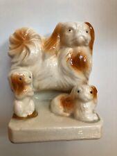 vintage ceramic Pekingese dog bookend made in Japan