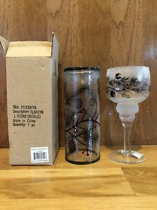 Yankee Candle Pinecone/Berry Crackle Frosty Glass Stem Tea Light Holders Set