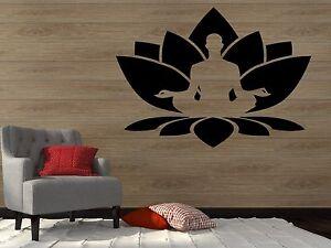 Vinyl Decal Wall Sticker Lotus Flower Buddha Om Meditation Yoga Studio (z2910)