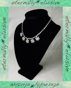 Diamante Crystal Sparkly Diamond Paste Stone Drop Flower Vintage Bridal Jewelry
