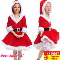 Girls Deluxe Red Santa Xmas Christmas Costume Kids Child Book Week Fancy Dress
