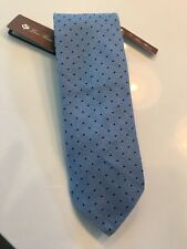 195$ Loro Piana Cashmere Blend Polka Dot Light Blue Tie Made in Italy