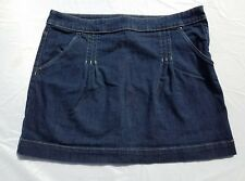 Womens ELLE Skirt Blue Jean Denim Size 14 Pleated Casual Fall Dark Wash