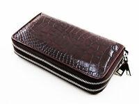 Brown Alligator Genuine Leather Crocodile Skin Women Double Zipper Clutch Wallet