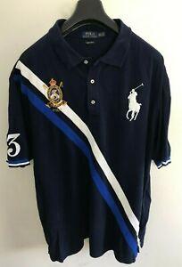 Polo Ralph Lauren Polo Shirt Mens 3XLT / 2XL Navy Blue Custom Slim Fit Big Pony