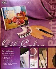 Art Advantage Oil Paint Set, 12 Oil Paints, 3 Brushes, Stretched Canvas, Palette
