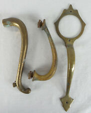 Lot of 3 Vintage Curved Brass Door Handles