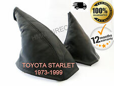 TOYOTA STARLET 1973-1999 GENUINE LEATHER GEAR & HANDBRAKE GAITER COVER SET BLACK