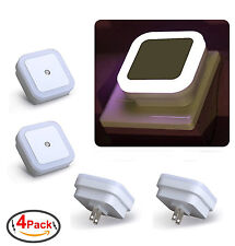 Plug in LED Night Light Wall Lamp w/ Dusk to Dawn Sensor White 0.5w 4 Pack