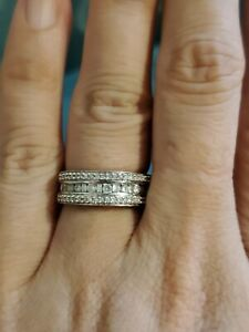 14k white gold diamond anniversary band pre owned