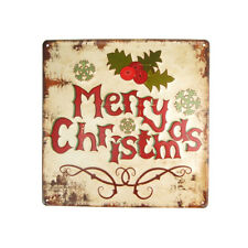 "Metal Square ""Merry Christmas"" Sign with Mistletoe, Beige, 11-3/4-Inch"