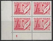 Slovakia 1939 Sc#J8 MNH corner marginal plate 1 postage due 1K NO WMK
