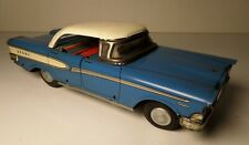 VINTAGE SATO TIN FRICTION LITHO BLUE & WHITE EDSEL SEDAN TOY CAR