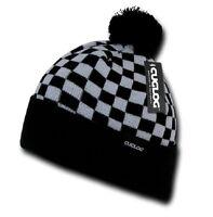 Black Grey Checkered Flag Knit Pom Sweater Beanie Cap Hat Cuglog K019-GRYBLK
