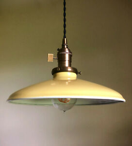 """Yellow Porcelain Enamel Shade: 10"""" Rounded Metal, 2-1/4 fitter Industrial Lights"""