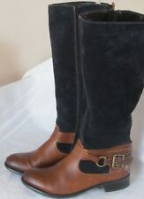REMONTE DORNDORF BROWN Leather Navy Suede TALL RIDING Equestrian BOOTS US 7 37