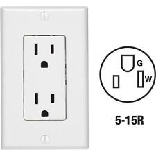 30 Pk Leviton 15A White 5-15R Duplex Outlet With Wall Plate Cover C24-05675-00W