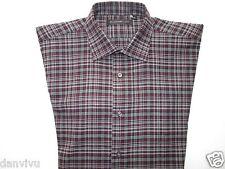 John Varvatos 'Star' USA Plaids Long SLV Kid's Dress Shirt Maroon 18 (14 | 31)
