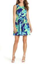 LILLY PULITZER Kassia Fit&Flare Dress Twilight Blue Island Satin Size 0 NWT $178