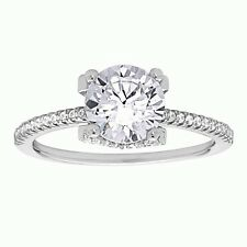 With Round Cz Solitaire Ring Engagement Ring 925 Sterling Silver