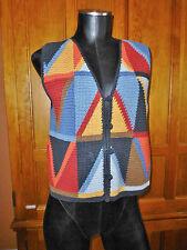 AZTEC PERUVIAN Art to Wear Cotton Hand Made Knit Peru Ethnic VEST SWEATER Sz S