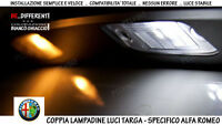 "COPPIA LAMPADINE LUCI LED TARGA BIANCO GHIACCIO ""ALFA ROMEO GIULIETTA"" NO SPIA"