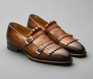 Men Handmade Two Tone Elegant Brown Double Monk Fringe Leather Dress Shoes-Boots