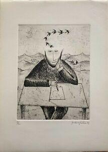 Giordano Frabboni incisione acquaforte 1972 Anelito  50x35 firmata  numerata