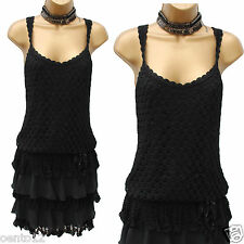 KAREN MILLEN BLACK CROCHET FLAPPER CHARLESTON 20s VINTAGE GATSBY Dress 3(12-UK)