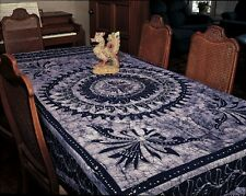Handmade Batik Mandala Bedspread Tapestry Throw Tablecloth Wall Decor Twin Blue