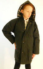 New Green Kids Girls Boys Wax Cotton Padded Casual School Jacket Coat
