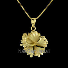 Hawaiian Sterling Silver 20mm Hibiscus Plumeria Flower Pendant 14k Gold Plated