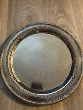 """International Silver Company ETCHED SILVER PLATED ROUND PLATTER Tray, 15"""" Dia."""