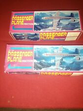 2 Vintage Red China Tin Toys Friction MF-104 Passenger Planes - W/ Boxes