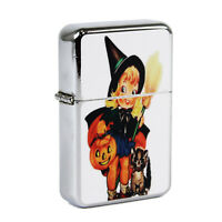 Refillable Oil Windproof Flip Top Lighter Halloween Witch Retro Vintage Postcard