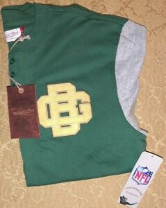 NWT Mitchell & Ness Green Bay Packers Throwback 3/4 Sleeve Henley Jersey M L XL