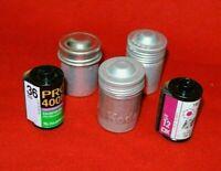 Vintage Lot of 2 Kodak +1 Ansco Embossed 35mm Metal Film Canisters + 2Rolls Film