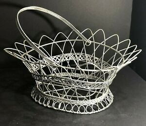 "Silver Metal Basket Bread Flower Towels Magazine Books Crafts 13.5""Lx11.5Wx6.5""D"