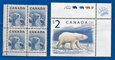 CANADA Canadian $2 and 2 cent postage POLAR BEAR stamps MNH B