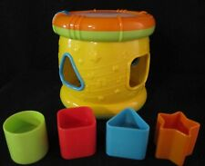 Yellow Drum Shape Sorter with Blocks Lights Up and Makes Sounds