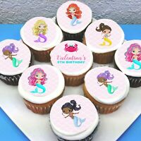 "H2O Mermaid Edible Icing Cupcake Toppers - 2"" - PRE-CUT"