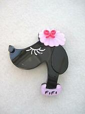 Delightful Pink & Black Lucite? 'Fifi' French Poodle Brooch/Pin