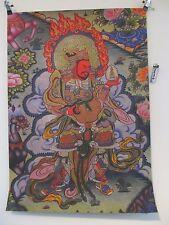Ancien GUAN GONG Dieu des richesses Bouddha Thangka Soie Peinture 88 cm Tibet ~ 1960